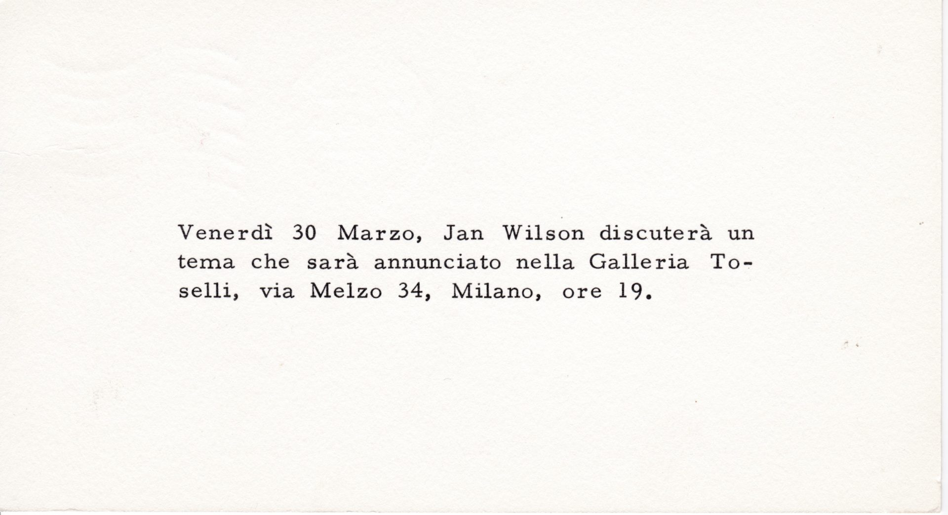 Ian Wilson - Invitation card for his discussion at Galleria Toselli in Milan, March 30, 1973