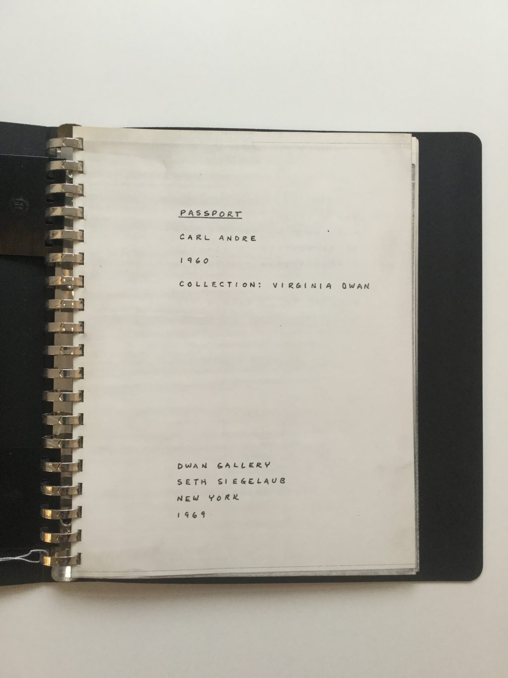 Carl Andre Seven Books of Poetry 1969